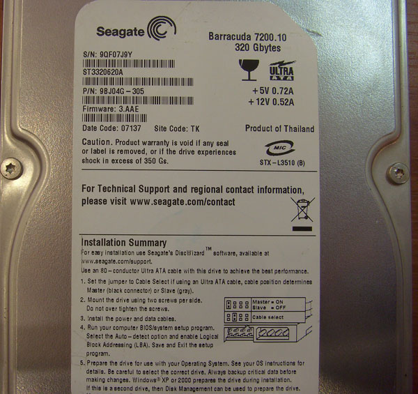 2 X HDD Seagate Barracuda 7200,10 320GB